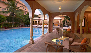 Terrace by the Pool - Samode Haveli - Jaipur, Rajasthan, INDIEN
