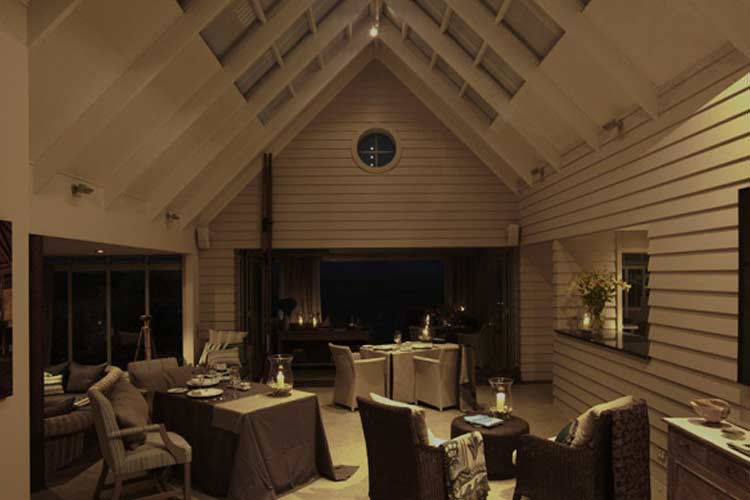 Main Dining Room Night - The Boatshed - Little Oneroa Waiheke Island
