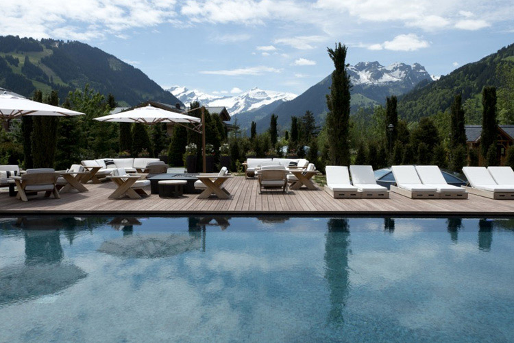 Swimming Pool and View - The Alpina Gstaad - Gstaad
